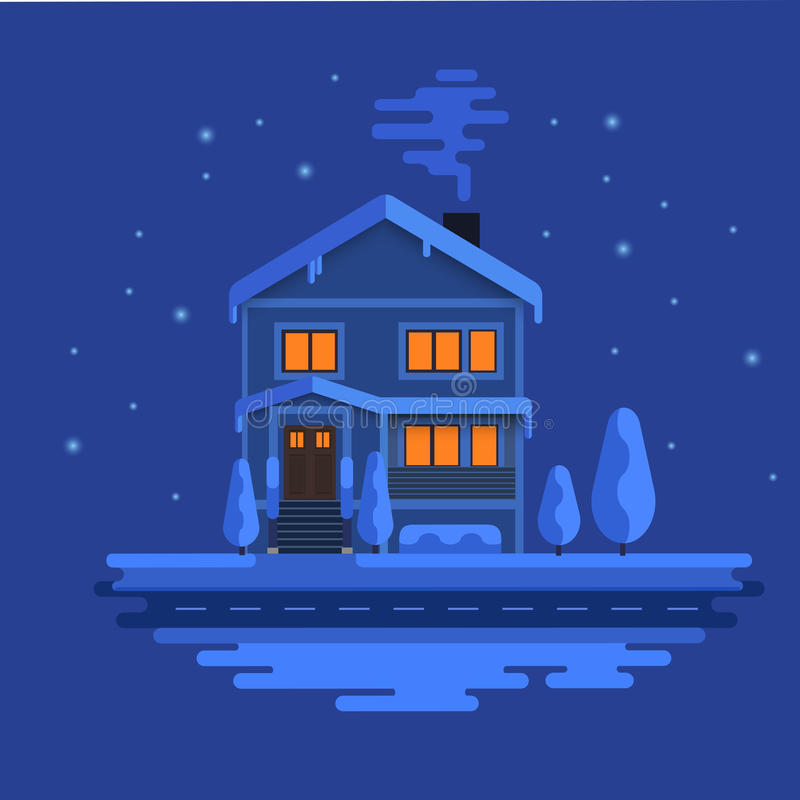 Winter scene with european city at night time. Beautiful house covered snow. Xmas concept made in . Seasonal vector illustration