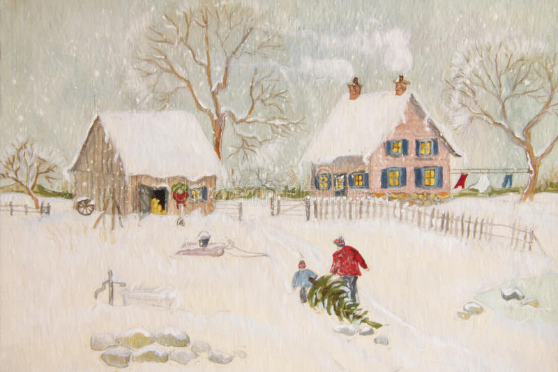 Winter scene of a farm with people vector illustration
