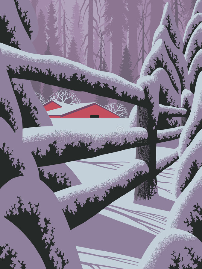 Winter Scene with Fence. An original 18x24 painting by Larry Jacobsen of a winter scene with fence and red barn. / S-023 stock illustration