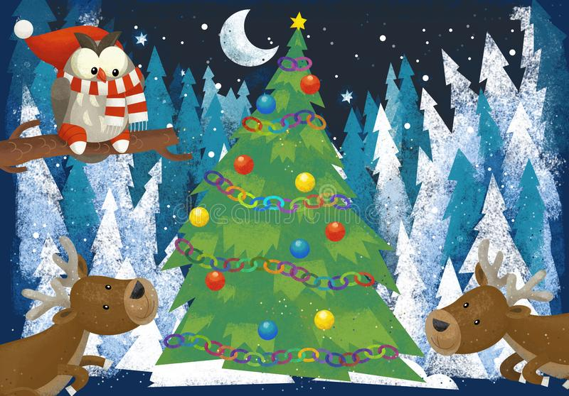 Winter scene with forest animals reindeers and santa claus bear near christmas tree - traditional scene vector illustration