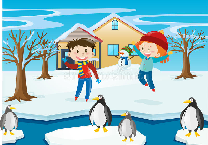 Winter Scene With Kids And Penguin Stock Vector - Image ...