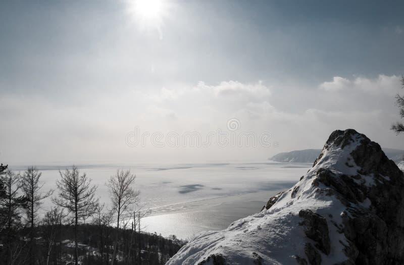 Winter scene on lake Baikal stock photos