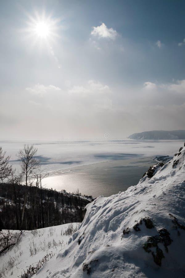 Winter scene on lake Baikal stock images