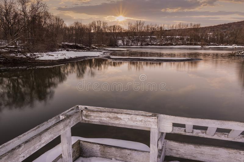 Wilandscape winter scene. Winter Scene Landscape in a Marina Park during Sunset royalty free stock photography