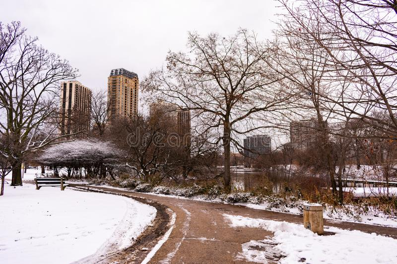 Winter Scene in Lincoln Park Chicago near North Pond with Snow royalty free stock photo