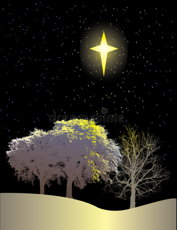 Download Winter Scene And Northern Star Stock Vector - Illustration: 5042917
