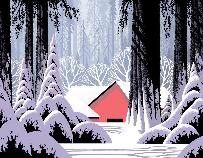 Winter Scene with Red Barn stock illustration