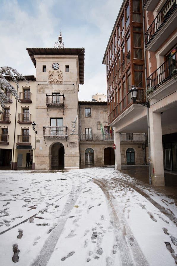 Winter scene of a snowed cityscape landscape of the ancient village of Briviesca in Burgos Province, Castilla y Leon, Spain. royalty free stock photos