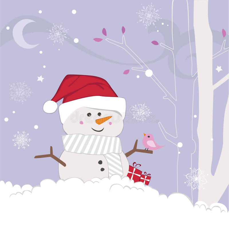 Winter scene of a snowman and friendly bird stock illustration