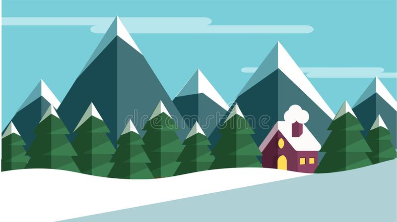 Winter scene with trees and mountains and a cabine stock illustration