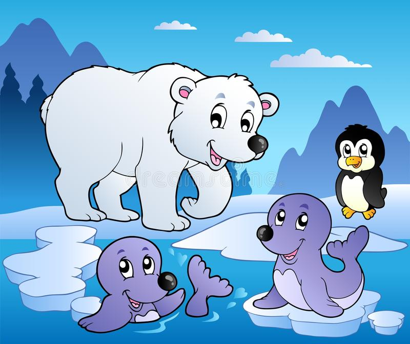Winter scene with various animals 1 royalty free illustration