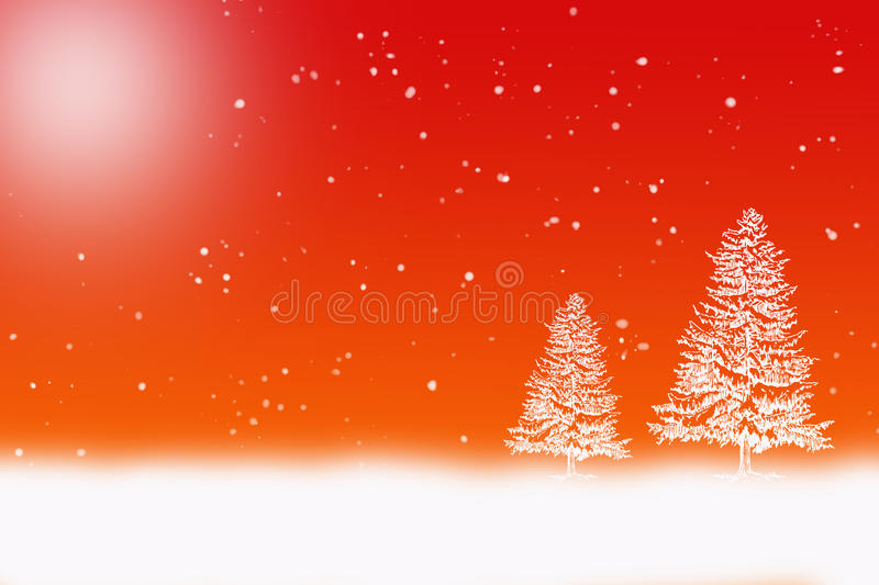 Winter scene. With white snow falling and snow covered trees on a gradient background stock illustration