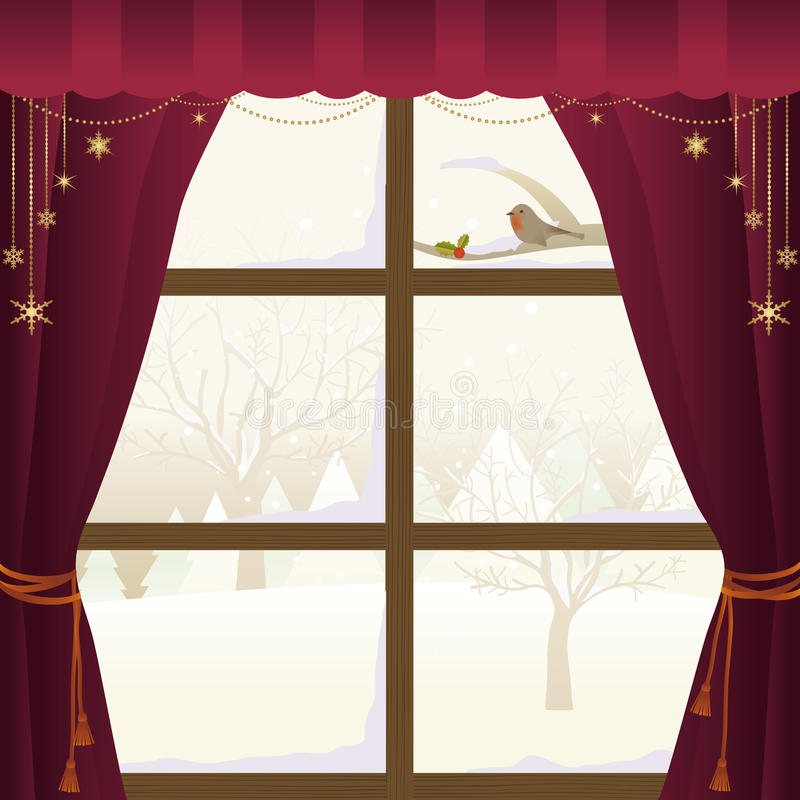 Winter Scene Through a Window stock illustration