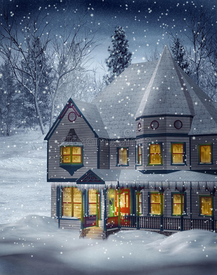 Winter scenery 1. Winter scenery with a Victorian house stock illustration