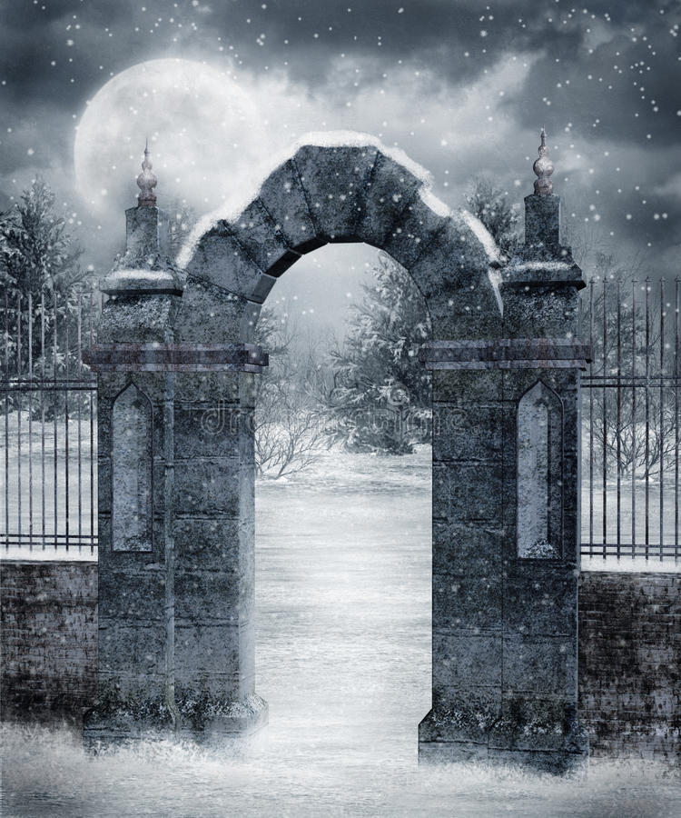 Winter scenery 20. Gothic cemetery gate covered with snow