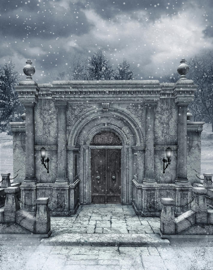Winter scenery 6. Winter scenery with a gothic crypt entrance royalty free illustration