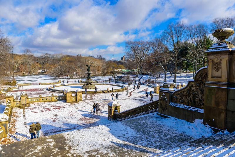 Winter Scenery in Central Park of New York City with ice and snow, USA royalty free stock photo