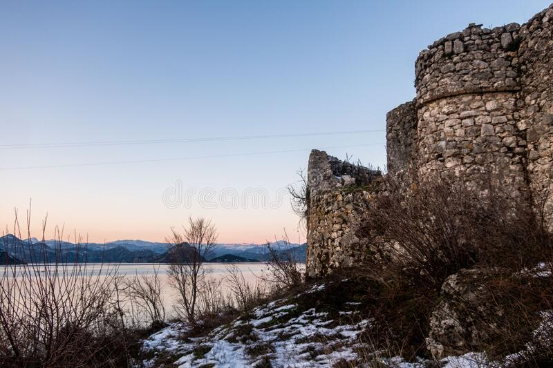 Winter scenery: Fort Lesendro at Lake Skadar, Montenegro. Fort Lesendro, the ruins of a medieval Ottoman castle, at Lake Skadar, Montenegro stock photography
