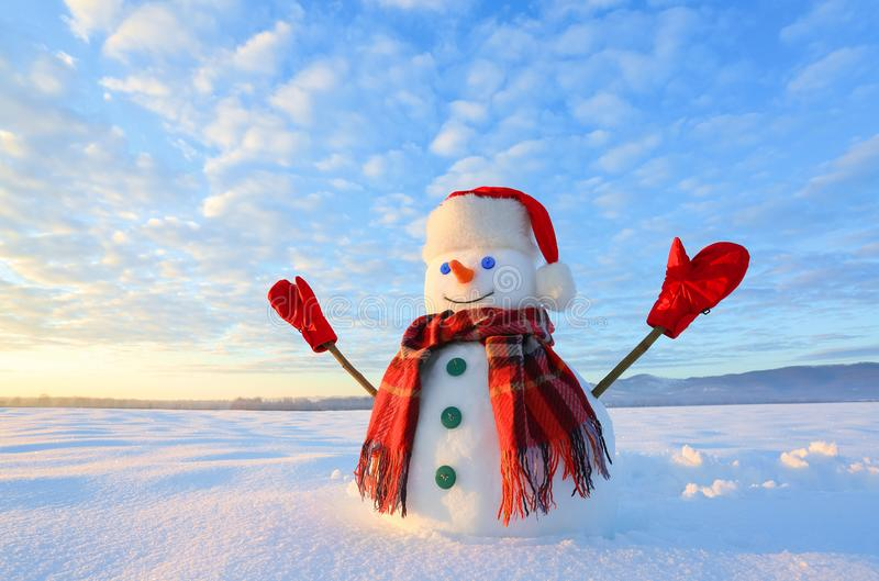 Winter scenery. Happy snowman in hat, red gloves and scarf on the background of mountains , blue sky. Field covered with snow. stock photography