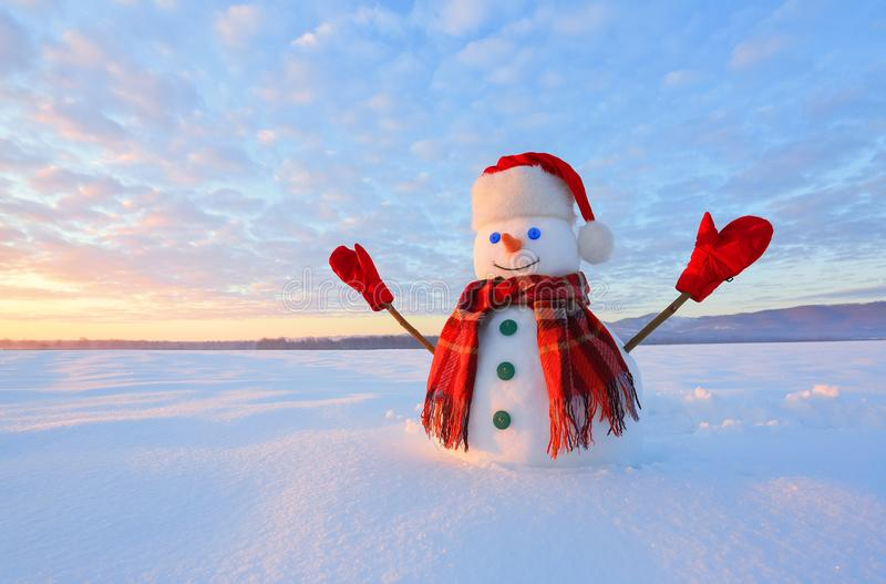 Winter scenery. Happy snowman in hat, red gloves and scarf on the background of mountains , blue sky. Field covered with snow. royalty free stock photography