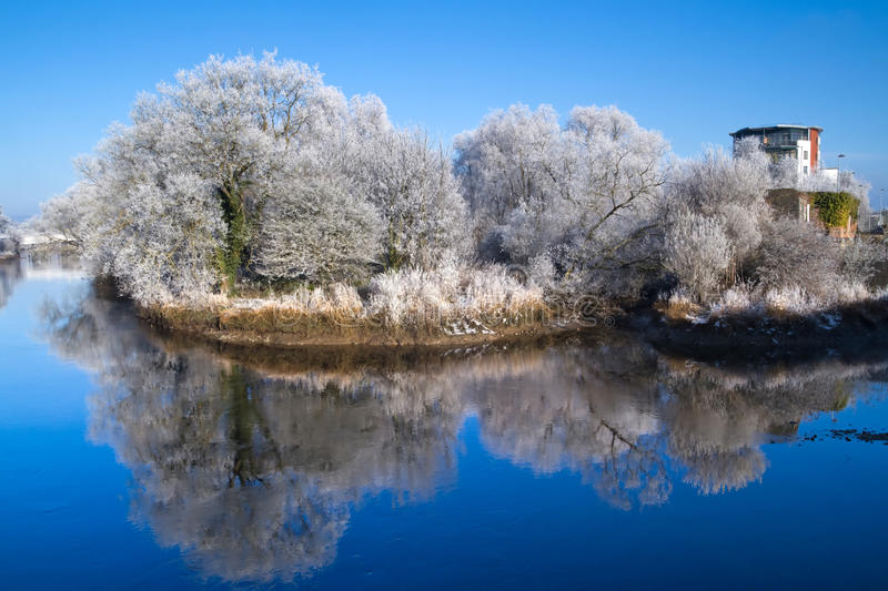 Winter scenery of Limerick. City park with reflection stock photos