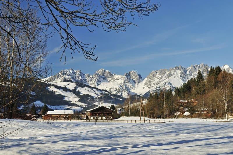 Wilder Kaiser. Winter scenery under Wilder Kaiser mountains in Tirol - Austria stock image