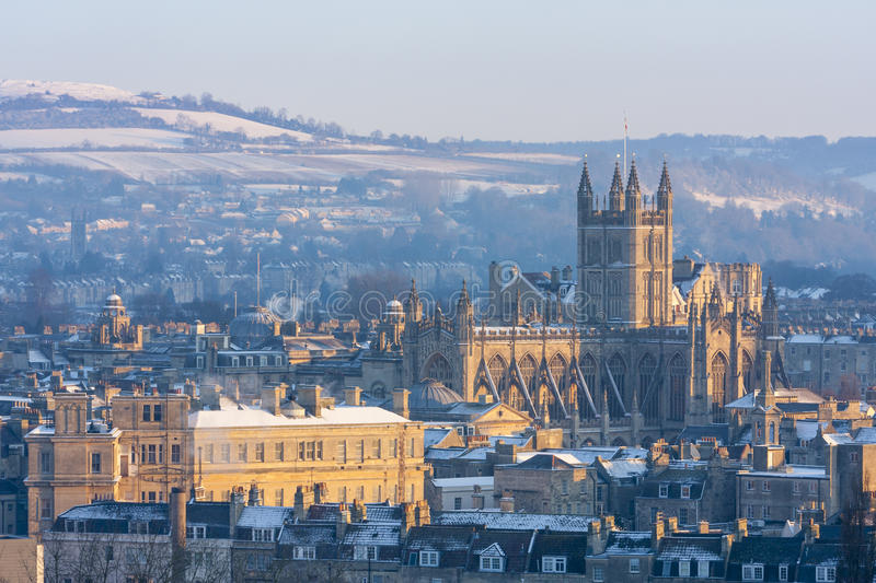 Download Bath Abbey in the snow stock photo. Image of winter, cathedral - 29899240