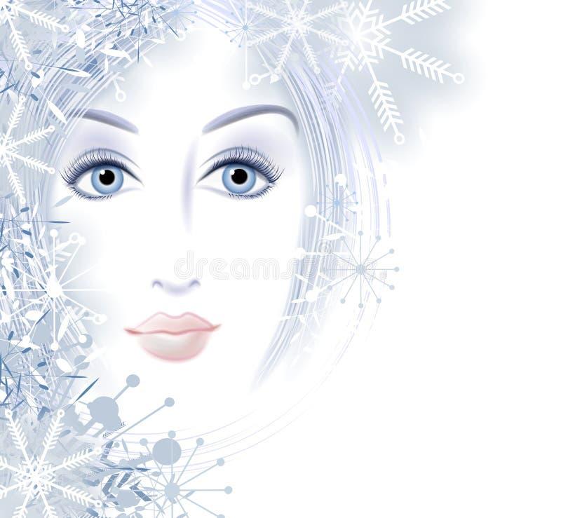 Winter-Schönheits-Gesicht der Frau lizenzfreie abbildung