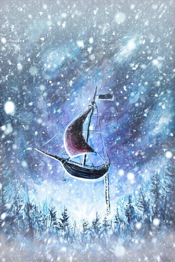 Winter Schnee Background Unscharfe Schneeflocken auf ursprünglichem Ölgemälde - Weihnachten lizenzfreies stockbild
