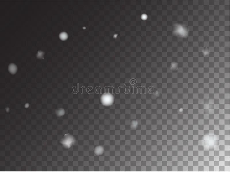 Winter-Schneefälle gefrieren Beschaffenheits-Vektor-transparenten Hintergrund Realistische Schnee-Konfettis, die unten, lokalisie vektor abbildung