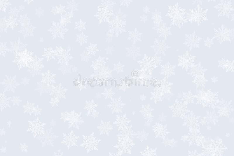 Winter-Schneeflocken auf einem silbernen Hintergrund für Weihnachten lizenzfreie abbildung