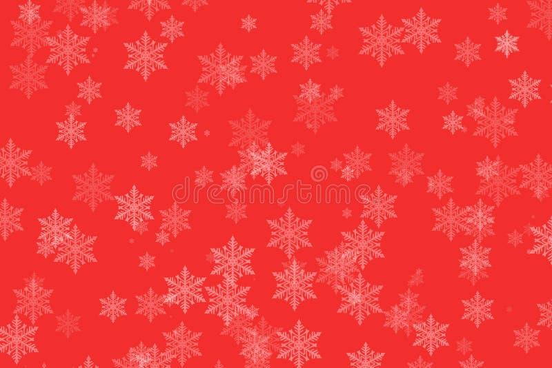 Winter-Schneeflocken auf Rot für Weihnachten stock abbildung