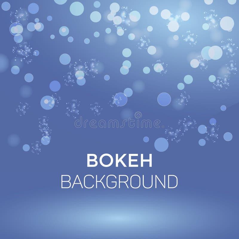 Winter-Schneeflocken-Zusammenfassung Bokeh-Hintergrund-Vektor-Illustration lizenzfreie abbildung