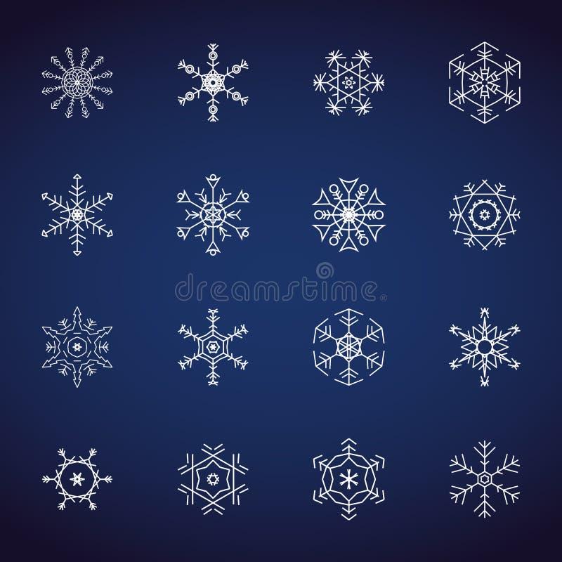 Winter-Schneeflockenikonensatz Flache Designikonen Illustrationsvektoren für Weihnachten und Neujahr Handgezogene Zusammenfassung vektor abbildung