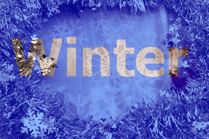 Winter schnitt Buchstaben auf Funkeln und Schneeflockenhintergrund heraus stockbild