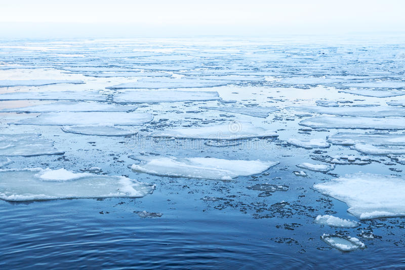 Winter Sea landscape with floating ice fragments. On still cold water. Gulf of Finland, Russia royalty free stock photos