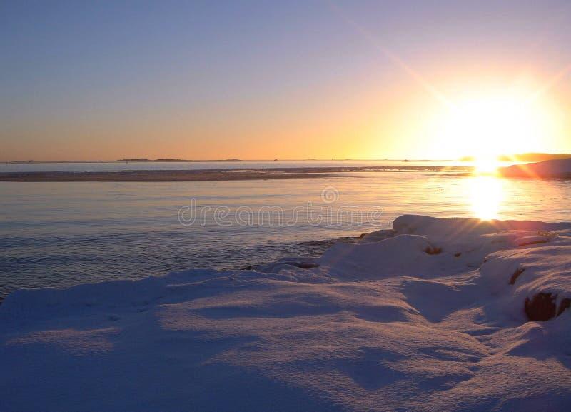 Winter sea sunset stock photography