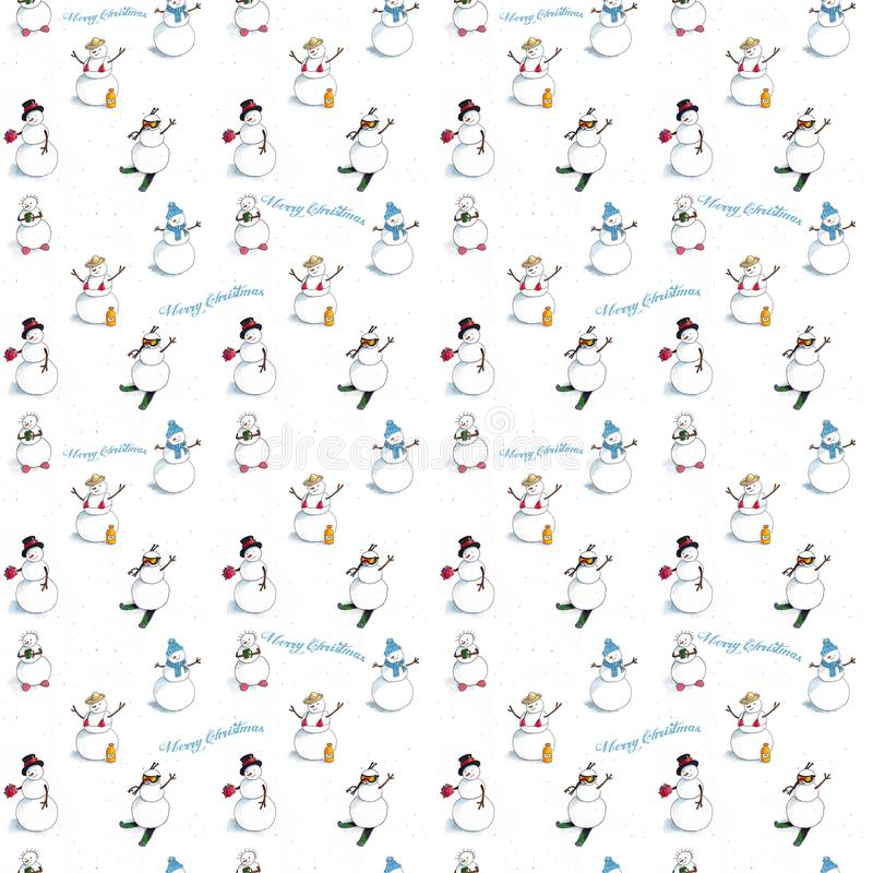 Winter seamless background with snowmen vector illustration