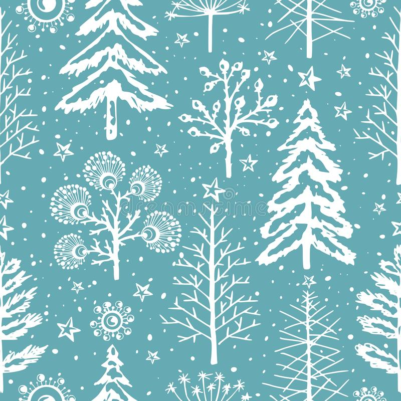 Winter seamless Christmas pattern for design packaging paper, postcard, textiles. stock illustration