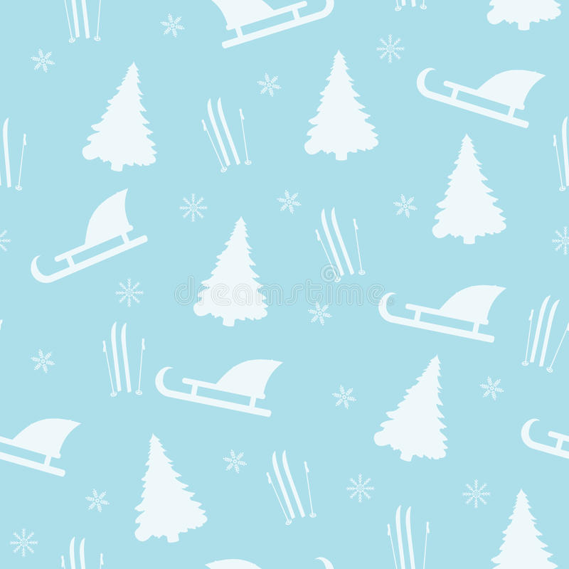 Winter seamless pattern on a blue background. stock illustration