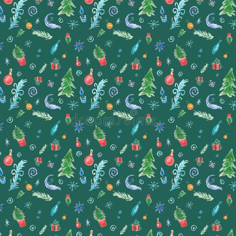Winter seamless pattern with christmas decorations on green background vector illustration