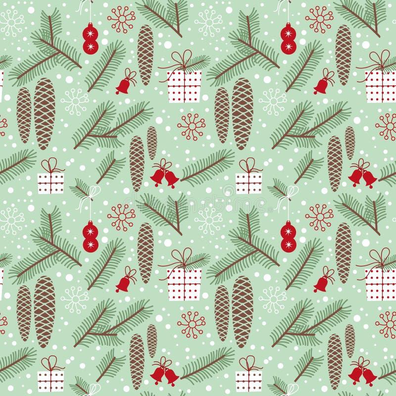 Winter seamless pattern, fir stock photos