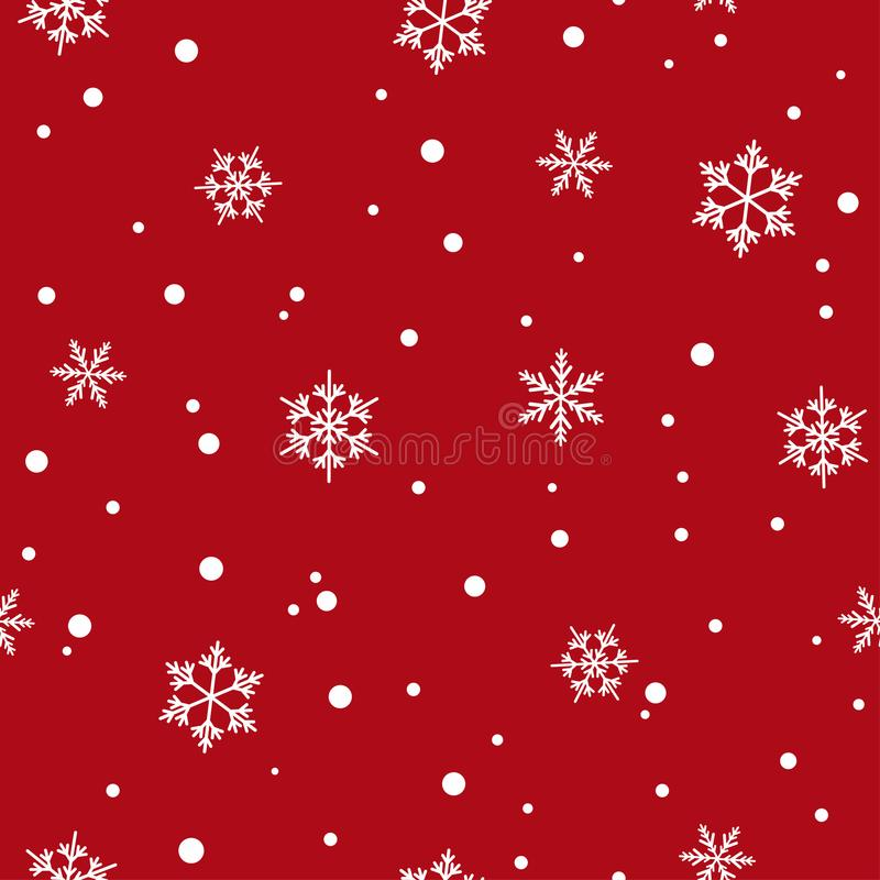 Winter seamless pattern with flat white snowflakes and dots on red background. New Year backdrop. vector illustration
