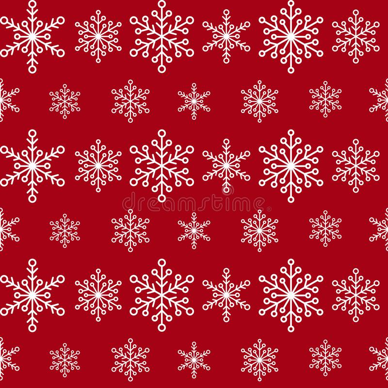 Winter seamless pattern with lines of white snowflakes on red background. New Year backdrop. Vector flat symmetric Christmas royalty free illustration