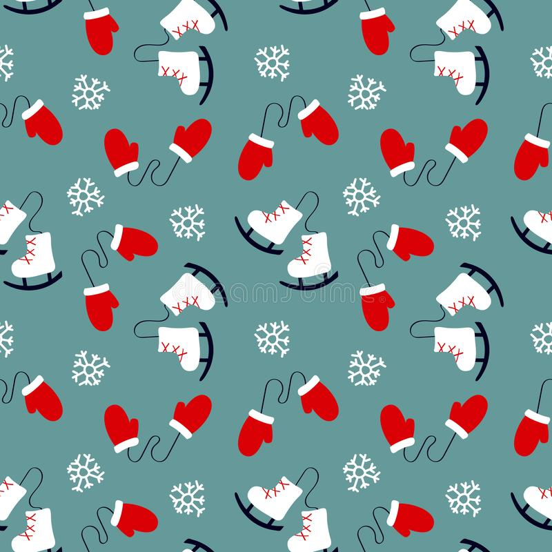Winter seamless pattern with mittens, skates and snowflakes. Art can be used for holiday packing, print, postcards vector illustration