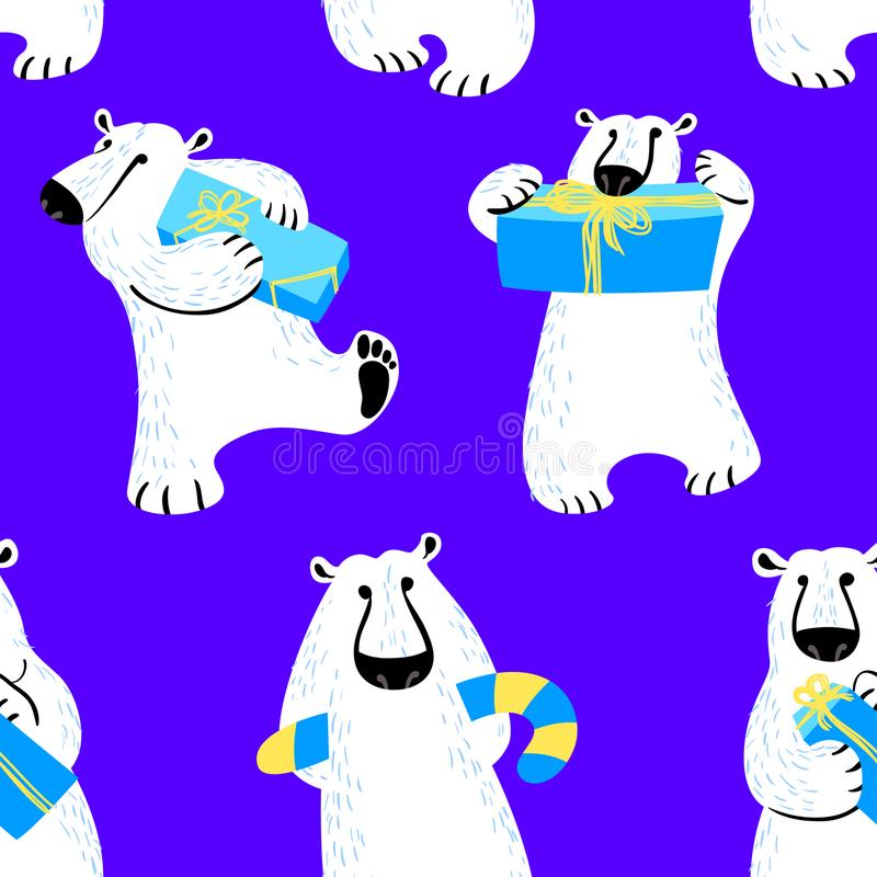 Winter seamless pattern with polar bear. Background with animal vector illustration