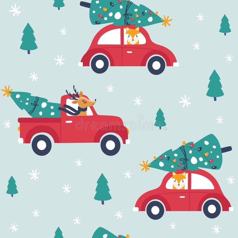 Winter seamless pattern with red car and christmas tree. vector illustration