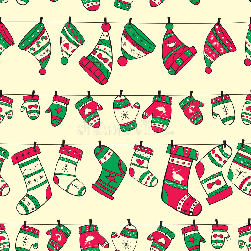 Winter seamless pattern with red green socks mitte royalty free illustration