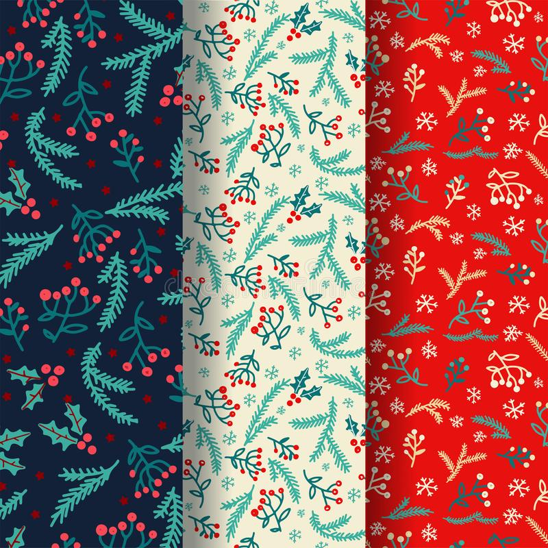 Free Winter Seamless Pattern Set With Decorative Winter Elements. Vector Design. Background With Hand Drawn Doodles. Holiday Decoration Royalty Free Stock Photography - 164346977