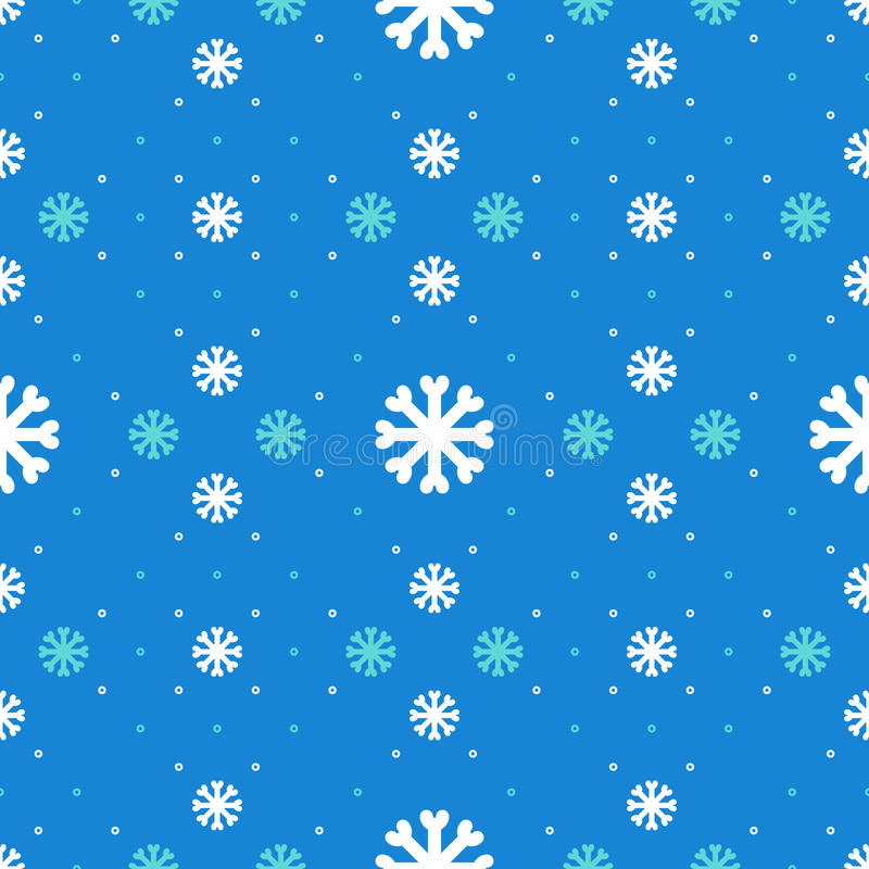 Winter seamless pattern, Snowflakes background, Christmas ornament. Holiday blue design royalty free illustration